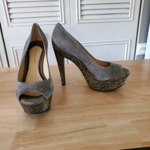 Gray platform heel